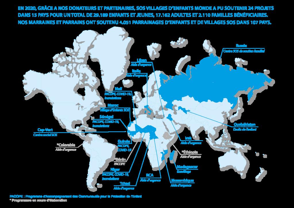 Carte du monde représentant les projets SOS VEM